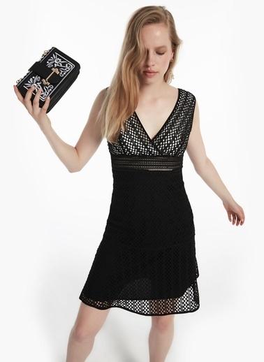 Twist Kalın Askılı Güpür Form Elbise Siyah